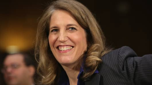 Director of the White House Office of Management and Budget Sylvia Mathews Burwell arrives at her confirmation hearing before the Senate Health Committee May 8, 2014 on Capitol Hill in Washington, DC.