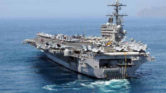 File photo of the USS George H.W. Bush aircraft carrier, which is currently enroute to Persian Gulf.