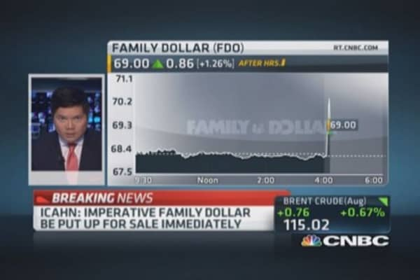 Icahn: Imperative Family Dollar be sold immediately