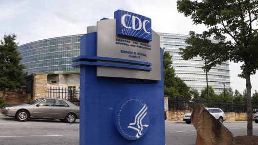 The Centers for Disease Control sign is seen at its main facility in Atlanta, Georgia.