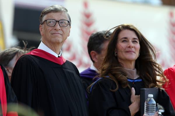 Bill and Melinda Gates at Stanford's graduation ceremony, June 15, 2014