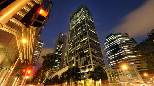 The SGX Centre (center), which houses the Singapore Stock Exchange