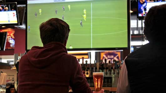 Watching soccer at a Buffalo Wild Wings restaurant