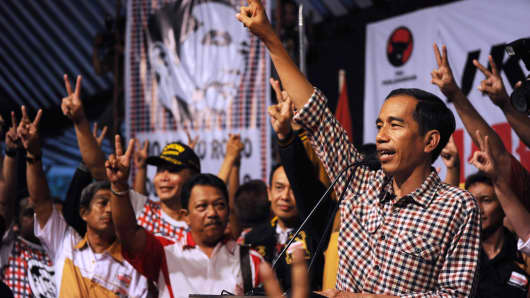Indonesian frontrunner and presidential candidate Jakarta Governor Joko Widodo addresses supporters during a campaign rally in his hometown Solo city, central Java island.