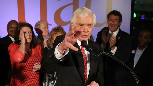 U.S. Sen. Thad Cochran speaks to supporters during his 'Victory Party' after holding on to his seat after a narrow victory over Chris McDaniel.