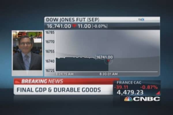 Q1 GDP down 2.9%, May durable goods down 1%
