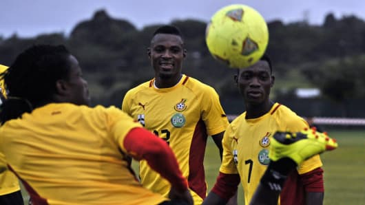Ghana's national football team, the Black Stars, practice during a training session in 2013.
