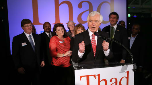 Sen. Thad Cochran speaks to supporters after holding on to his seat after a narrow victory over Chris McDaniel, June 24, 2014 in Jackson, Miss.
