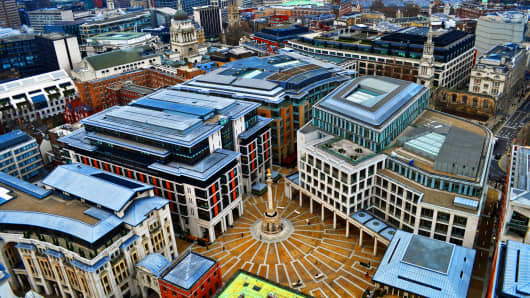 An aerial view of the London Stock Exchange Paternoster Square