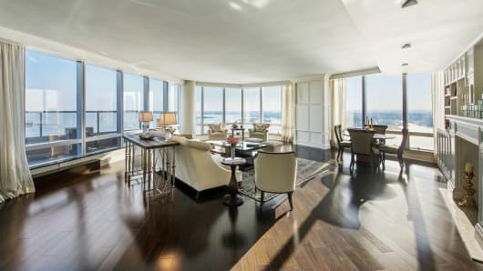 Inside penthouse at the Ritz Carlton in New York.