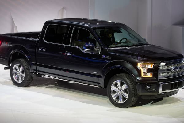 The Ford F-150 pickup truck at the 2014 North American International Auto Show in Detroit, Michigan,
