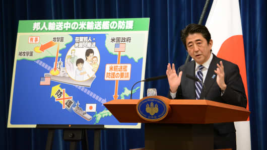 Japan's Prime Minister Shinzo Abe makes his case for a controversial move to allow Japan's armed forces to enter battle in defense of allies.