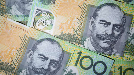 Australian one-hundred dollar banknotes are arranged for a photoshoot.