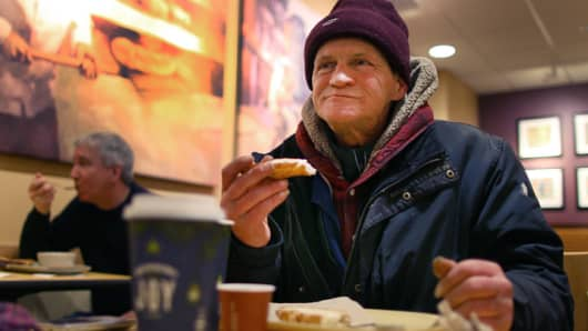 "Panera Cares Community Cafe opened in Center Plaza, with a pay-as-you-can approach. ""I'm homeless and still gave, cause I want others to have,"" said Wayne Gilchrist, who lives under a bridge in Cambridge, Massachusetts."