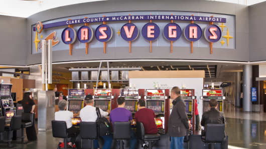 Passengers at the McCarran International Airport in Las Vegas.