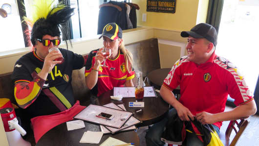 Belgium fans gather at Petite Abeille on 20th Street in Manhattan to watch the FIFA World Cup.