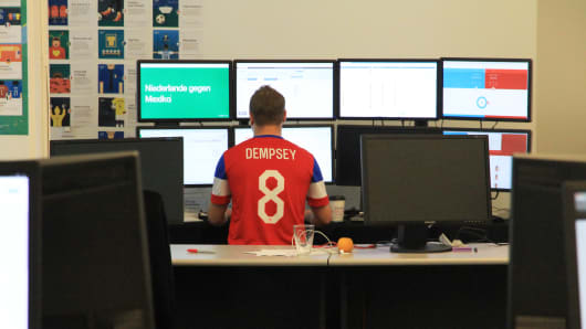 Google employees and contractors crunch real time search data during the 2014 World Cup.