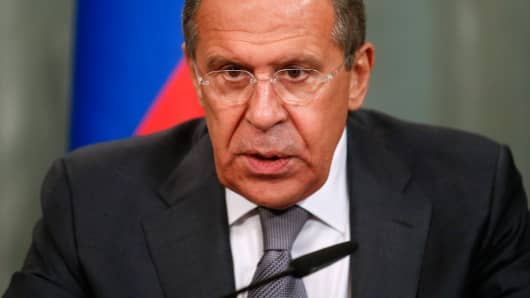Russia's Foreign Minister Sergei Lavrov speaks during a news conference in Moscow, June 27, 2014.