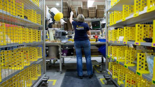 An Amazon employee in Leipzig, Germany