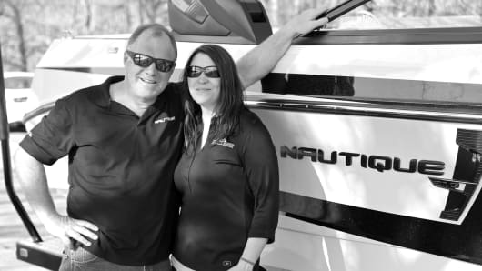Matt and Lynette Santomenna, the husband and wife team behind Race City Marine in Mooresville, N.C.