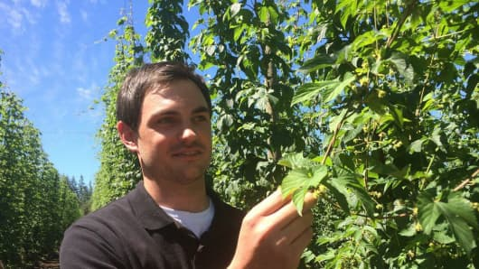 Blake Crosby, Managing Director of Crosby Hop Farm is a 5th generation hop grower, Woodburn, OR. Crosby says in the past 5 years hop prices have increased 30-50% and have now hit a 10 year high.