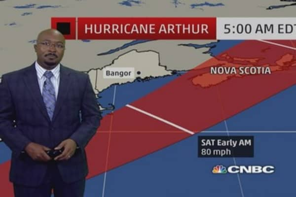 Eye on tropical storm Arthur