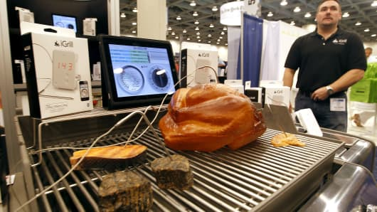 The iGrill, a Bluetooth enabled grilling and cooking thermometer application made by iDevices LLC for use with Apple Inc.'s iPod touch, iPhone and iPad devices.
