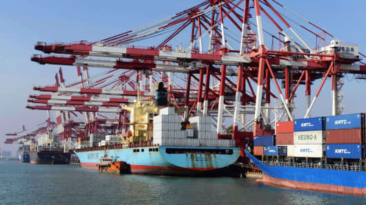 Containers waiting to be transported in Qingdao port in Qingdao, east China's Shandong province.