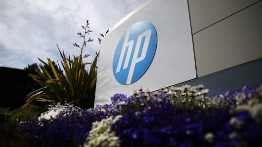 Signage outside the Hewlett-Packard headquarters on May 23, 2014, in Palo Alto, California.