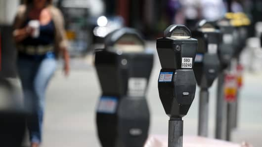 A row of parking meters line O'Farrell Street on July 3, 2013 in San Francisco.