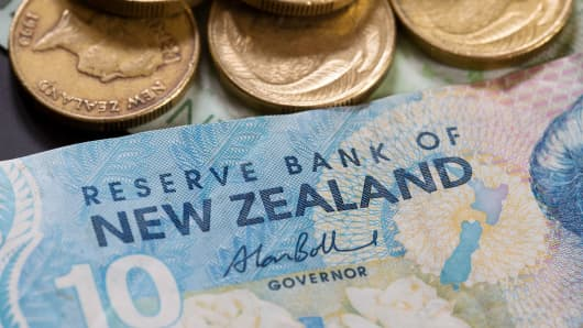 New Zealand banknotes and coins of various denominations are arranged for a photograph.