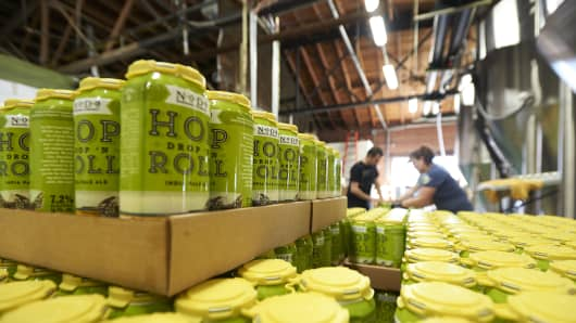 The gold medal-winning Hop Drop 'n Roll being readied for distribution at NoDa Brewing Company in Charlotte, N.C.