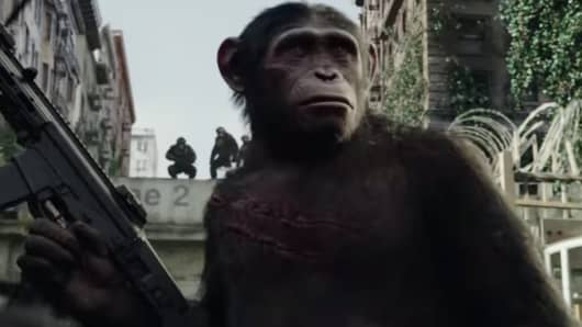 "A scene from ""Dawn of the Planet of the Apes."""