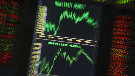 The index chart on the electronic board at Bovespa stock exchange is shown in Sao Paulo, Brazil.