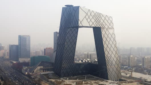 The CCTV Tower, designed by Rem Koolhaas, in Beijing