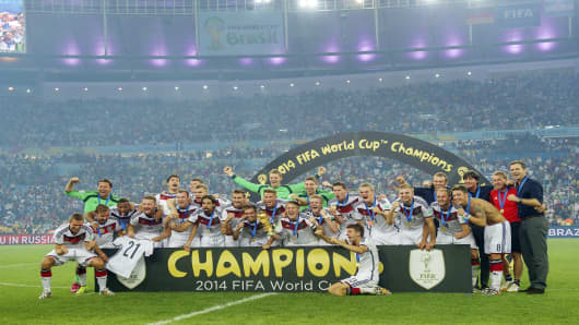 Germany wins the World Cup during the final of the FIFA World Cup 2014 on July 13, 2014 at the Maracana stadium in Rio de Janeiro, Brazil.