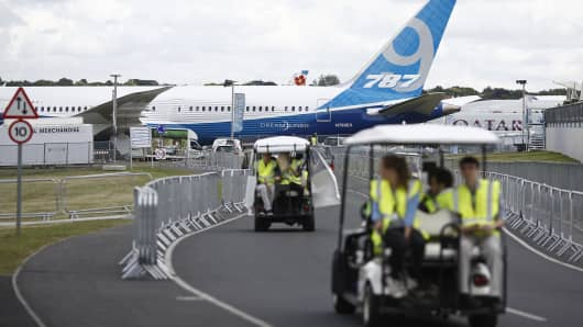 A Boeing 787-9 Dreamliner aircraft, produced by Boeing Co., as it stands on display prior to the opening of the Farnborough International Airshow