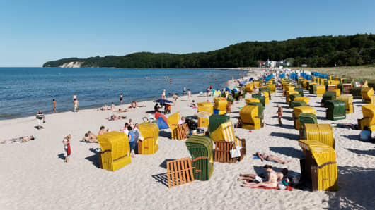 Beach chairs at a beach, Baltic Sea Spa Binz, Ruegen, Mecklenburg-Vorpommern, Germany