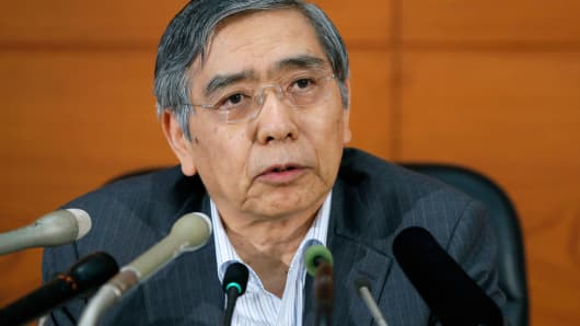 Haruhiko Kuroda, governor of the Bank of Japan, speaks at the central bank's headquarters in Tokyo, June 13, 2014.