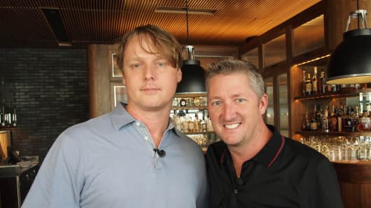 "Tristan Simon (left), founder of Consilient Hospitality and Chef Tim Love of CNBC's ""Restaurant Startup"""