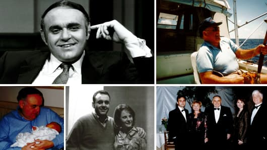 "Left to right: Cooperman on ""Wall Street Week"" in 1982; fishing on a rare day off in 1988; with one of three grandchildren in 2001; with fiancé Toby in early 1960s; 25th wedding anniversary in 1989, with son Michael, Toby, Regina and Mario Gabelli."