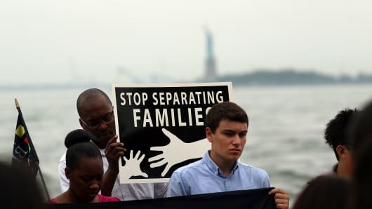 Supporters of the New Yorkers for Real Immigration Reform Campaign rally at Battery Park on July 14, 2014 in New York City.