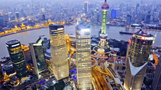 An aerial view of Shanghai at night.