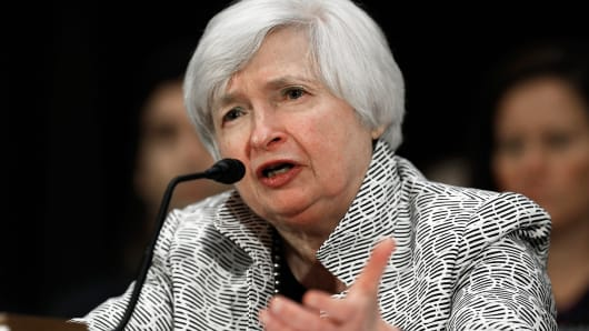 Federal Reserve Board Chairwoman Janet Yellen testifies before the Senate Banking, Housing and Urban Affairs Committee July 15, 2014, in Washington.