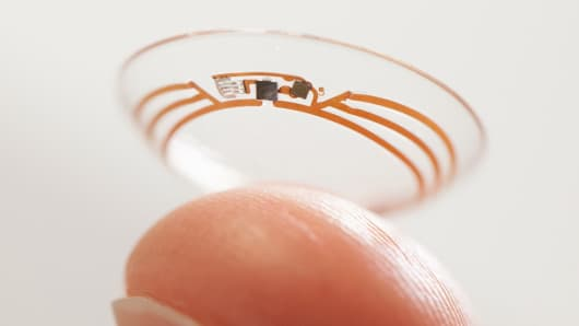 Google smart contact lens to measure glucose levels in tears.