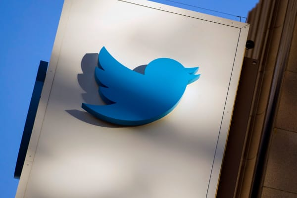 The Twitter logo is displayed on the facade of the company's headquarters in San Francisco.