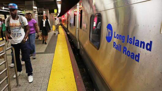 A Long Island Rail Road train sits at the platform in the Brooklyn borough of New York.