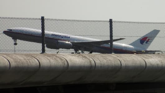 Malaysia Airlines flight MH17 taking off from Schiphol Airport in Schiphol, the Netherlands, on July 17, 2014.