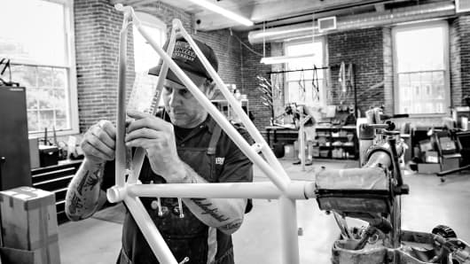 Custom bike makers at Independent Fabrication in Newmarket, New Hampshire, build about 400 frames each year.