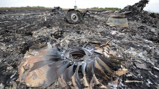 Wreckage of MH17 near the town of Shaktarsk, in rebel-held east Ukraine.